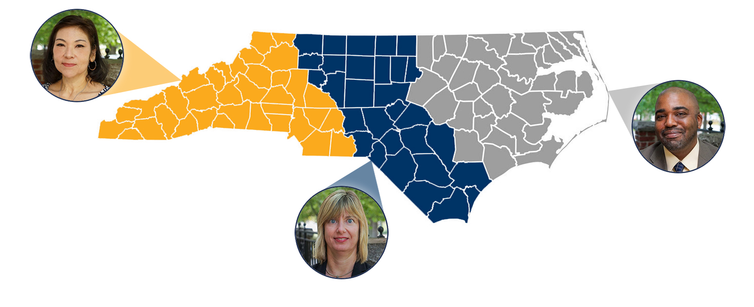 Map of NC divided into 3 sections. Western NC covered by Angie Moore, Central NC covered by Melissa Garrison, and Eastern NC covered by Andre Hill.